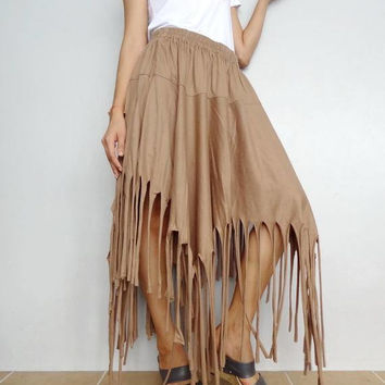 Women Frayed Gypsy Skirt , Bohemian Casual , Cotton Blend In Khaki (Skirt *MN4).