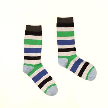 Grey, Royal Blue & Green Multi Stripe Socks