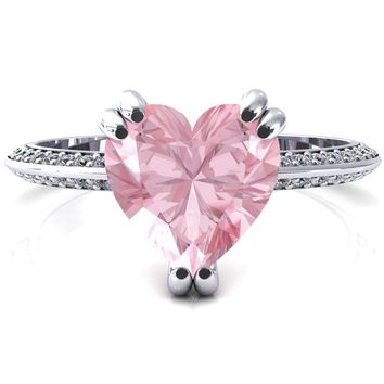 Nancy Heart Pink Sapphire 3 Double Prong 1/2 Eternity Diamond Knife Shank Accent Engagement Ring
