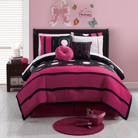 Girls Teens 10 piece FULL  Bed in a Bag Black Fuchsia White Comforter & Sheets