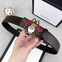 GUCCI Fashion New Diamond Bee Buckle Women Men Leisure  Belt Coffee With Box