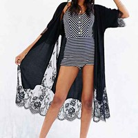 Pins And Needles Lace-Trim Maxi Kimono Jacket-