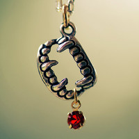 Once Bitten Necklace  Silver Vampire Fang Charm by littlefever