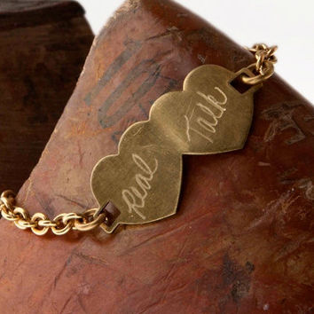 Double Heart Engraved Brass Bracelet...Personalize it with Two Names or Words of your Choice. Customized for Free