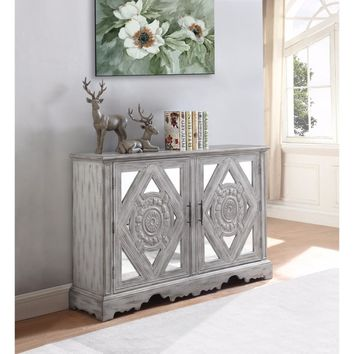 Distressed Wooden  Accent Cabinet With Ornate Doors, Gray By Coaster