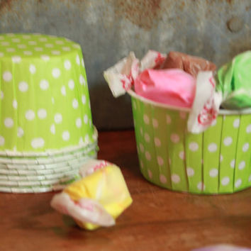 """12 Lime Green Baking Cups -- Paper Nut Cups -- Large 2"""", green and white polka dots"""