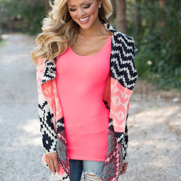 Pixelated Geometric Neon Sweater Pink/Ivory