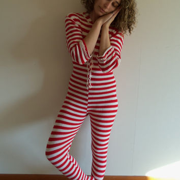 Vintage Red and White Striped Holiday Adult Onesuit Footed Soft Pajamas