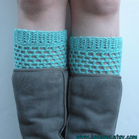 Aqua Crochet Boot Cuffs, ready to ship. Free US Shipping with code OLYMPIA at checkout!             (Expires 10-1-2013)