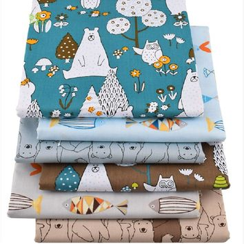 6 pcs/lot New Bears&Fishes Twill Cotton Fabric,handmade crafts/ Patchwork Cloth,DIY Sewing Quilting Fat Quarters Material For Ba