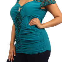 LACE SLEEVE SWEETHEART TOP - BLUE - PLUS SIZE - 1X - 2X - 3X