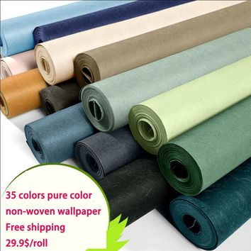 Modern brief non-woven solid color plain silk wallpaper tv background wall wallpaper