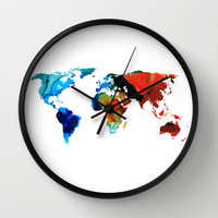 Map of The World 3 -Colorful Abstract Art Wall Clock by Sharon Cummings