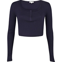 River Island Womens Navy blue rib long sleeve crop top