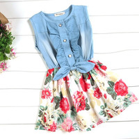 New Girl Baby Princess Dress Kids One-piece Denim Jeans Skirt Christmas gift D_L = 1713102532