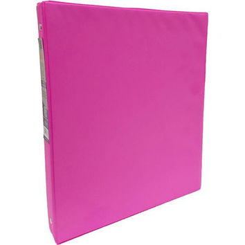 "1"" Neon Pink Vinyl 3-Ring Binder w/ 2 Pockets"