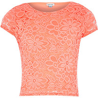 River Island Girls coral lace fitted top
