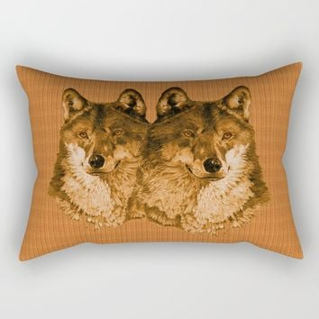 Season of the Wolf - Duet in Gold Rectangular Pillow by michael jon