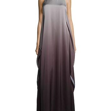 Sleeveless Ombre Evening Gown, Black/Silver, Size: