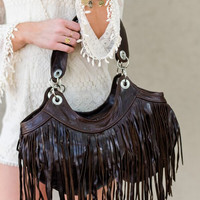 Texan Time Brown Fringe Boho Bag
