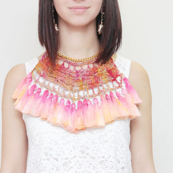 BIRDS  / crocheted and hand dyed cotton necklace - Ready to Ship