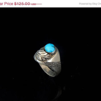TURQUOISE Sterling Men's Ring NA Navajo Articulated LEAF