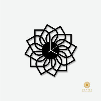 Lotus Flower pattern wall clock, Modern Wall Clock, Flower Clock, Home Decor Clock,