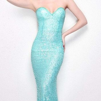 Primavera Couture - 1253 Strapless Sequined Sweetheart Sheath Dress