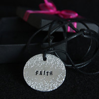 Faith, Handmade Adjustable Necklace with Aluminium Medallion