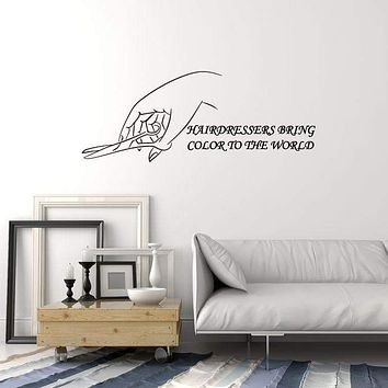 Vinyl Wall Decal Hairdresser Quote Hair Salon Stylist Hairdressing Stickers Mural (ig5434)