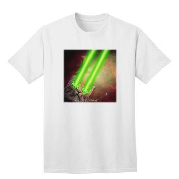 Laser Eyes Cat in Space Design Adult T-Shirt by TooLoud