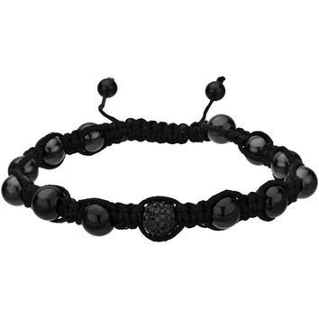 Inox Jewelry Black 316L Stainless Steel Crystal Shamballa Bracelet