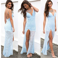 Lace backless straps dress PO1017CA