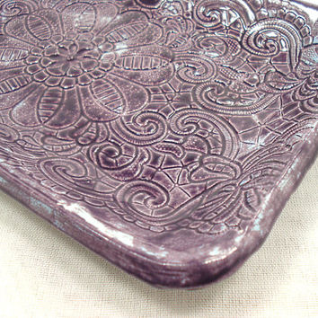 Purple Lace Ceramic Dish, Candy Dish, Trinket Dish, Jewelry Dish, Ceramic Lace Dish, Purple Pottery Dish, Orchid Dish, Orchid Pottery