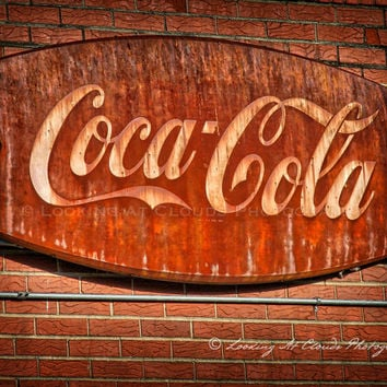 Coke art, Coca Cola art photo, vintage Coke sign photo, Coke decor, retro kitchen, vintage sign, brick rust, soda fountain decor