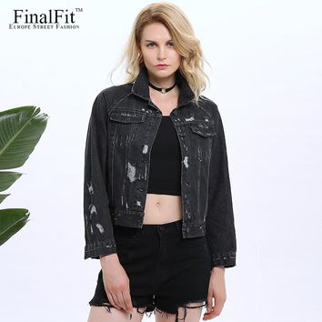 FinalFit Black Distressed Denim Jacket Women Autumn Casual Frayed Short Women Jeans Jacket Coat
