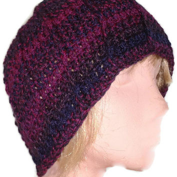 Stylish Mens Beanie Hat Hand Crocheted in Purple, Plum and Navy . Unisex. Womens Fashion Accessories. Winter Warmers