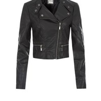 Teens Black Leather-Look Side Zip Biker Jacket