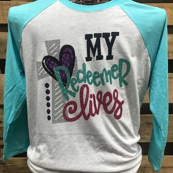 Southern Chics Apparel My Redeemer Lives Cross Glitter Raglan Canvas Long Sleeve T Shirt