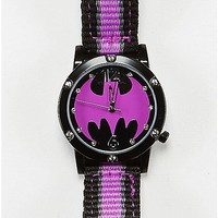 Batgirl Watch Purple and Black Woven Band - DC Comics - Spencer's