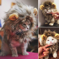 Furry Pet Costume Lion Mane Wig For Cat Halloween Fancy Dress Up With Ears Party Home Drop Shipping