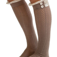 Brown Boho Boot Socks Crochet Lace Button Top Pointelle Knee High Light Chocolate Brown