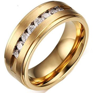 8mm Titanium Stainless Steel CZ Gold Wedding Ring Channel Set Cubic Zirconia Engagement Band