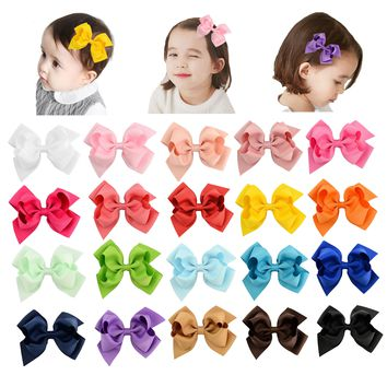 "20 Pcs/Lot Grosgrain 4.5"" Alligator Solid Hair Bow Clips for Baby Girl Toddlers Kids Infant Children Handmade Barrettes Hair Accessories"