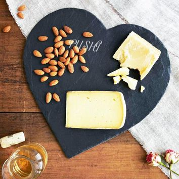 Creative Solid Natural Slate Heart Shaped Plate Dish Salmon Barbecue Plate Cake Sushi Stone Plate Cheese Pizza Flat Food Tray
