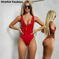 Women Sexy PU Leather Bodysuit Top