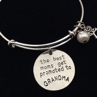 The Best Mom's Get Promoted to Grandma Silver Expandable Charm Bracelet Adjustable Wire Bangle