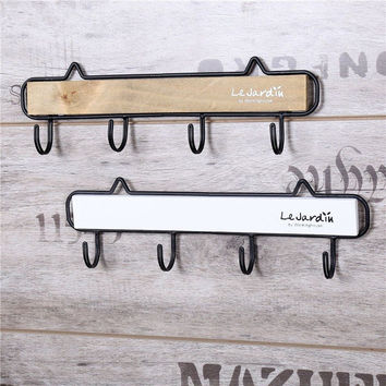 New Vintage Solid Wooden Robe Hooks Wall Hanger With 4 Hooks For Hanging Clothes Hat Bag Home Decor Wall Wood Rack