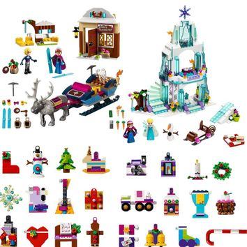 New Girl Friends 2108 Christmas Countdown Calendar Anna Elsa Castle 41353 Building Blocks Toys Legoinglys Christmas gift