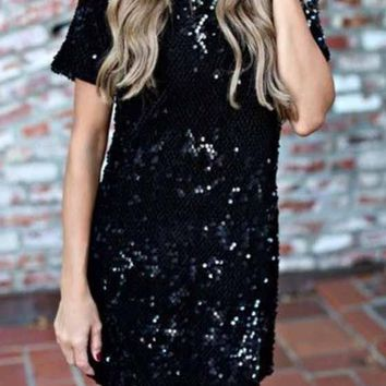 Black Plain Sequin Round Neck Short Sleeve Evening Party Club Mini Dress